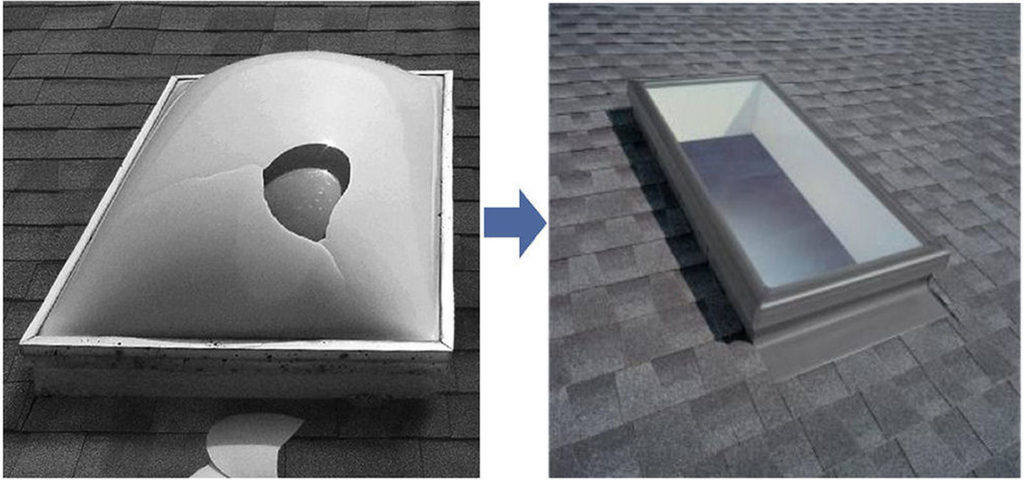 replacing a bubble skylight